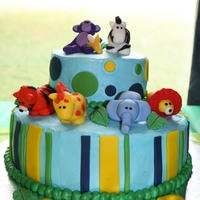Jungle Baby Shower Cake Chocolate cake with buttercream icing and fondant decorations.Animals modled from fondant