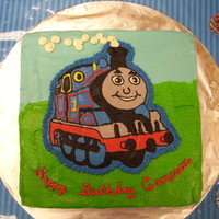 Thomas The Tank Engine All buttercream with FBCT Thomas - cake was white chocolate swirled with strawberry, with white chocolate strawberry mousse.