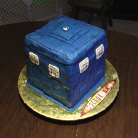 Tardis For Doctor Who fans, this was a 3D cake of the Tardis! I used MMF, colored blue and painted with blue dust & clear vanilla.