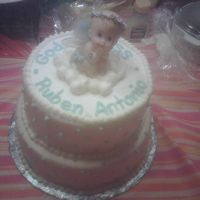 "Baptism Angel On A Cloud 10"" and 8"" buttercream."