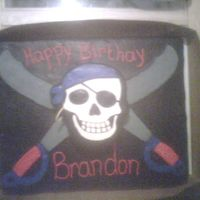 Pirate Skeleton Full sheet, very heavy!!!! Chocolate with chocolate buttercream filling. buttercream with fondant accents.