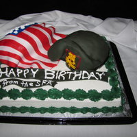 Happy 80Th Birthday Cake For An Honorary Green Beret! This cake was marble with buttercream. The decorations were make with RKT and Fondant. It was an honor to make this cake as a rookie.