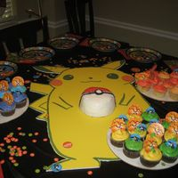 Pokemon Ball And Cupcakes This was a 4' Pikachu board with a pokeball smash cake and 3 dozen cupcakes. buttercream icing with sugar sprinkles on chocolate cake...