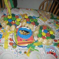 "Sesame Street Explosion We had a Cookie Monster smash cake on a square with the Sesame street signs on opposite sides and cupcakes covered in ""fur"" plus..."