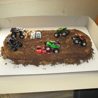 Monster Truck Birthday Cake I did this cake for my nephew's 4th birthday. I made a 9x13 rectangle cake and a 9 in round cake that I cut in half and filled and...