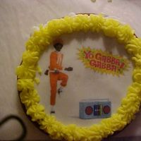 Yo Gabba Gabba Chocolate sugar cookies with butter cream icing and edible image. Butter cream border.
