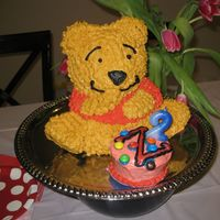 Winnie The Pooh For Zoe's Second Birthday   We used the Wilton 3D cuddly bear pan with a chocolate zucchini cake batter and cream cheese buttercream frosting. Zoe loves M&Ms.