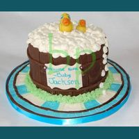 Ducks In A Bucket Bubbles are made with cream cheese frosting, bucket is covered in chocolate fondant