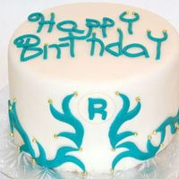 Happy Birthday Wavy Pattern Fondant with teal accents