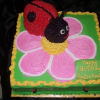 Ladybug Cake  Buttercream cake with buttercream LadyBug. Carved the ladybug and iced it. Then iced the full cake. Sat the Ladybug on top. Fondant accents...