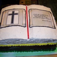 Youth Celebration bible cake made of chocolate with buttercream frostingbottom layer yellow-with chocolate fondant