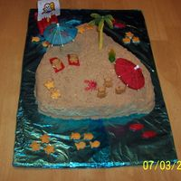 Beach/island Cake Was supposed to be the castle cake pan w/brown sugar and ended up this way!