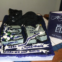 20 Year Class Reunion Edison Wildcats, class colors purple and black, class flower white rose and the class motto on the ribbon, all edible, rkt head, bc w/ mmf...