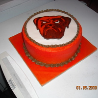 Dawg   3 layer choc/van bc & mmf round with mmf dog airbrushed orange and hand painted brown...made for my grannys 85th bday:)