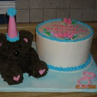 Party Bear With Traditional Birthday Cake  3 layer vanilla wirh cherry filling. Iced in bc with mmf flowers. Bear body is cake with rkt arms, legs, and head then iced in bc and...