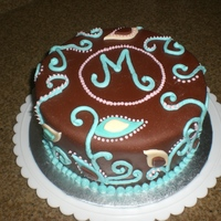 'mommy Shower' Cake This cake was made for a 'Mommy Shower'. Triple chocolate cake with turtle filling covered in chocolate fondant. Leaves were...