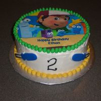 Handy Manny Dark chocolate, chocolate chip cake with choc ganache filling. BC with edible image.