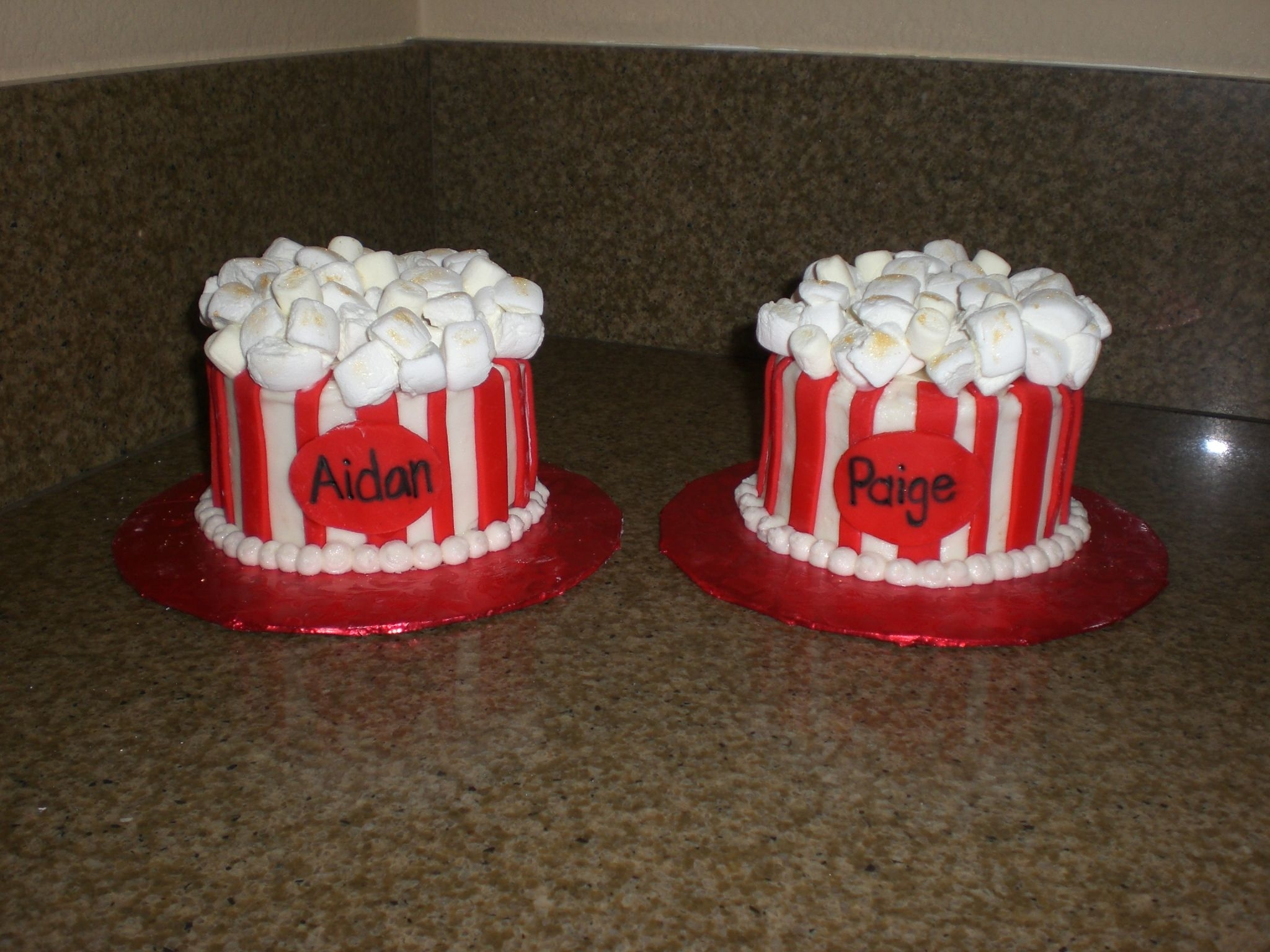 Popcorn 'bucket' Cakes Done for a friend's children's birthday party to match the other popcorn cake I made. These were the kids' individual cakes...