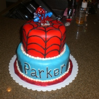 Spiderman Ckae My youngest insisted on Spiderman for his 3rd birthday. Cake is strawberry with lemon cream filling. Both tiers are covered in MMF, BC...