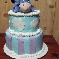 Eeyore Baby Shower Cake I iced this cake last night but after it sat for a while the color darken to much and was not the color that my friend wanted so i removed...