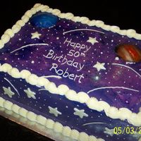 Jupiter And Neptune Birthday Cake 9x13 white cake with mocha buttercream; airbrushed; planets are edible images