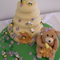 Bear, Honey And Violets I made this cake for a baby's christening. He name is Honey Violet and they asked for acake that represented her name.