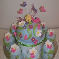 Butterflies And Flowers This was for my daughters 8th birthday. She wanted a cake with butterflies and flowers on it. I make the large dome cake (which we were...