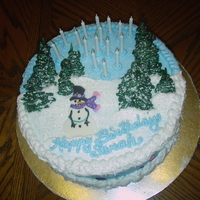 Winter Snowman Birthday Cake Interpreted from a wonderful book by a most talented pair of ladies!