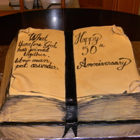 50Th Anniversary Bible Cake 2 layer hand carved white cake. Fondant covered. 50th anniversary.