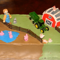 Farm Cake Nephew's B-Day. Chocolate cake mostly B cream and animals in fondant.... his eyes were all lit up. makes it worth it every time.