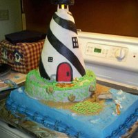 Lighthouse Birthday Cake Choc. cake b cream and fondant decoration. Details don't show up as well as i'd like, but had working light and hand- made...