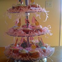 Princess Cupcake Tower easy cupcakes with cupcake picks made from stickers on cardstock