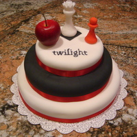 Twilight Cake For Teenager This was my first attempt at a fondant cake. Very happy with it!! My husband actually sculpted the chess pieces out of fondant for me and I...