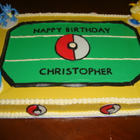 Pokemon Stadium Buttercream icing. Figures were purchased at the Disney store. Pokemon balls were made with fondant.