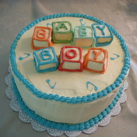 Baby Boy Shower Cake Buttercream icing. Blocks were made from cupcakes (cut into square shapes and frosted).