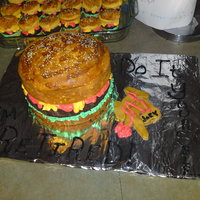 Hamburger Cake Another Hamburger Cake! This was the easiest cake I have made yet! I made everything last night...it was for a co-worker who is retireing...