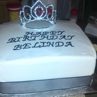 "50Th Birthday Cake 10"" BC Vanilla cake with pinneapple filling, black and white ribbon and princess crown"