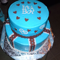 Blue And Brown Baby Shower bc icing, fondant accents...tfl