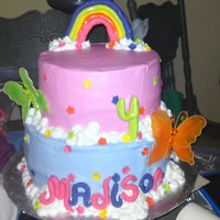 "My Little Pony Bc icing and fondant accents, the butterflies are not edible. My rainbow was almost a disaster!...the ponies were added later...8"" and..."