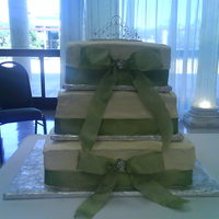 Quincenera Cake   BC and green ribbon....don;t remember the flavors...TFL