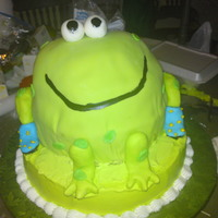 Froggie Froggie cake for a baby boy's 1st B-day, chocolate cake covered w/fondant...Smash cake- giant cupcake