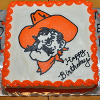 Pistol Pete Birthday Cake Oklahoma State University's Pistol Pete mascot in FBCT for my sister's and her friend's birthdays.