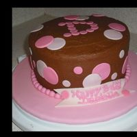 Pink Polka Dot Chocolate buttercream with fondant cut outs