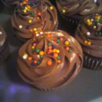 Chocolate Cup Cakes Chocolate sour cream icing with sprinkles