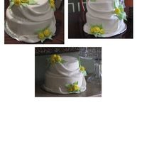 Draped Fondant With Yellow Roses   Cake made in Fondant Draping class. Cake is styrofoam for practice, covered entirely in fondant with fondant accents.