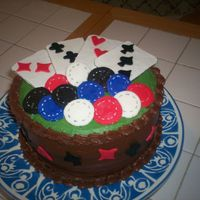 Poker Group buttercream with fondant chips and gumpaste playing cards