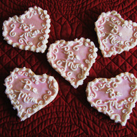 Be Mine Shortbread cookies with royal icing.