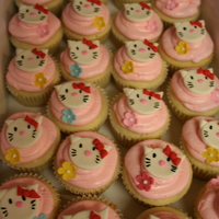 Hello Kitty Cupcakes Hello Kitty fondant toppers on vanilla SMBC covered cupcakes.