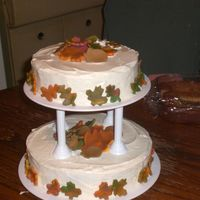 Fall Cake white cake buttercream frosting leaves made of fondant
