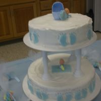Baby Shower   white cake with buttercream frosting,the feet made of fondant